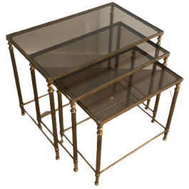 Neoclassical Brass Nesting Tables. French
