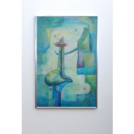 Latin American Abstract Surrealist Original Painting Signed Drejel, 1973