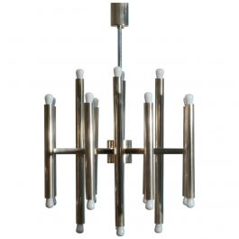 Minimal Nickel Sciolari Chandelier with 24 Lights