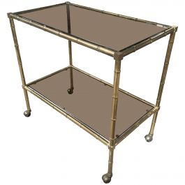 Mid-Century Modern Italian Faux Bamboo Bar Cart with Smoked Glasses