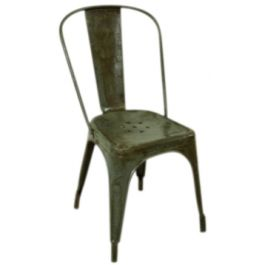 VINTAGE FRENCH STEEL TOLIX CAFE CHAIR