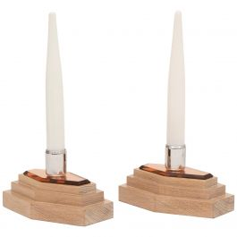 Pair of Modernist Art Deco Table Lamps on Stepped Limed Oak Base by Heals