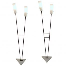 Italian Pair of 1950s Black & White Floor Stilnovo Style Lamps