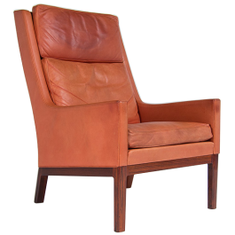 Mid Century Armchair by Kai Lyngfeldt Larsen Leather & Rosewood, Danish 1950's