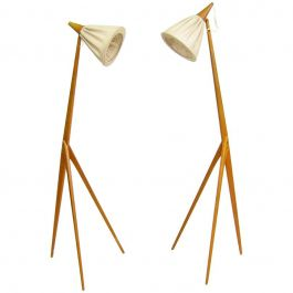 Pair of Giraffe Floor Lamps By Uno Kristiansson