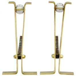 Pair of Brass and Crystal Andirons