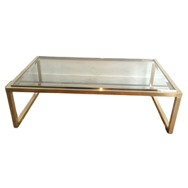 BRASS AND CHROME COFFEE TABLE. CIRCA 1970