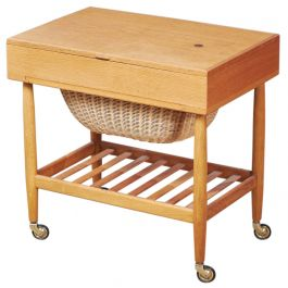 Mid-Century Danish Oak and Woven Cane Serving Trolley from Vitze, 1960s
