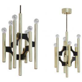 Pair of Gaetano Sciolari Brass and Black Chandeliers, Italy, 1970s