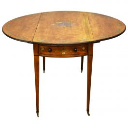 20th Century Edwardian Satinwood Hand Painted Pembroke Table