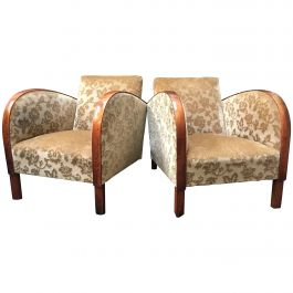 Art Deco Antique Armchairs Early 20th Century Antique Golden Birch Bentwood Arms