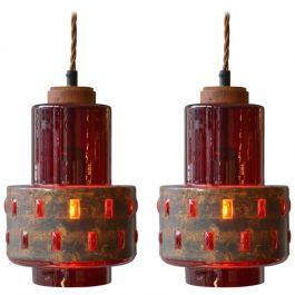 Pair of Copper and Red Glass Pendants by Nanny Still for RAAK