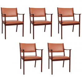 1950s Ole Wanscher Set of Five PJ 412 Armchair in Mahogany and Brown Leather