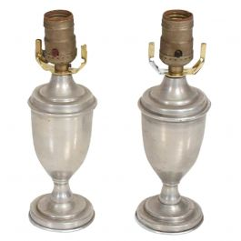 Hollywood Regency Pair of Petite Table Lamps in Aluminum
