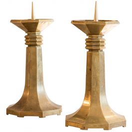 A Pair Of Large Brass Pricket Candlesticks