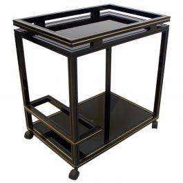 Pierre Vandel Paris Black and Gold French Barcart, 1970s
