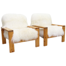 A Pair of 1960's Icelandic Sheepskin Pine Armchairs from Les Arcs