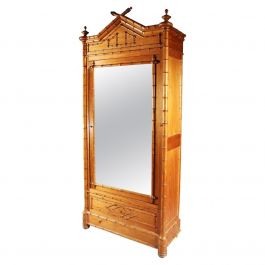 19th Century French Simulated Bamboo Armoire, Cupboard Wardrobe