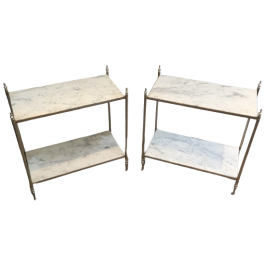 MAISON JANSEN, RARE PAIR OF SILVER SIDE TABLES