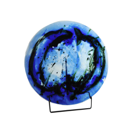 Glass dish by Tróndur Patursson, Whale in blue colors1990's
