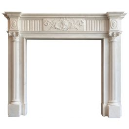 Antique Georgian Neoclassical Fireplace Mantel in Statuary White Marble