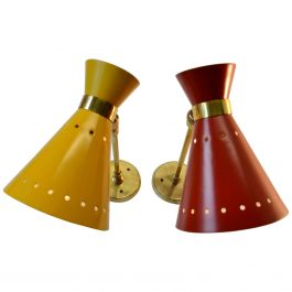 Pair of Mid-Century Modern Italian Red & Yellow Aluminum & Brass Diabolo Sconces