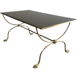 MAISON JANSEN. BRASS COFFEE TABLE WITH DOLPHINS