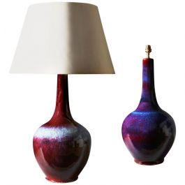 A Matched Pair Of Large Flambe Vases