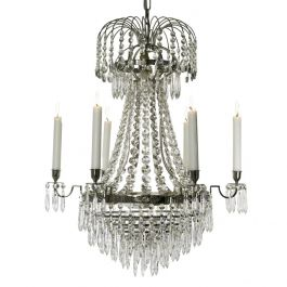 Empire Crystal Chandelier: 6 arm drop bottom crystal chandelier