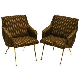 Pair of 1950's French Lounge Chairs in Luxurious Black and Gold Striped Fabric