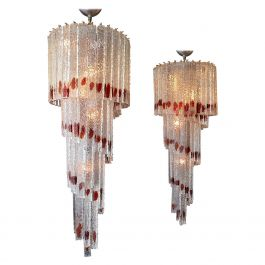 Murano Tiered Spiral Colour Pop Chandeliers