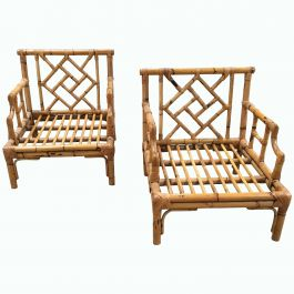 Mid-Century Modern Italian Pair of Bamboo Armchairs by Vivai del Sud, 1970s