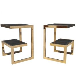 1980s Gold 23 Karat G- Side Tables By Belgo Chrome