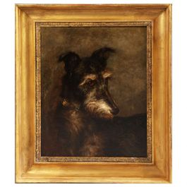 Oil on Canvas of a Lurcher by Percy Macquoid