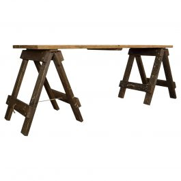 Large Vintage Table, English, Pine, Craft, Work, Kitchen, Trestle, circa 1970
