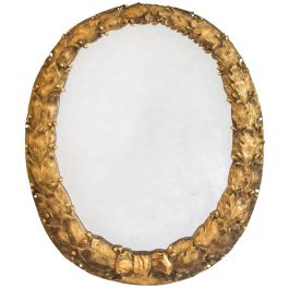 A Small Oval Empire Mirror With A Finely Cast Gilt Bronze Wreath Frame