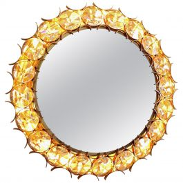Gilded Brass & Crystal Wall Mirror with Illumination from Palwa, 1960s