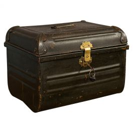 Vintage Metal Depository, English, Tin Trunk, Chest, Art Deco Period, circa 1940