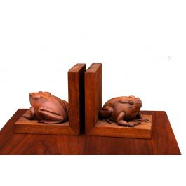 Frogs Bookends Hand-Carved in Mahogany