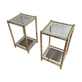 1970s Pair of Gold Gild Side Tables