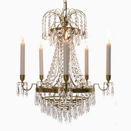 Empire Chandelier in Polished Brass with Six Lights