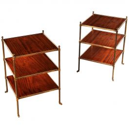 Pair of Early 20th Century Mahogany and Brass Three-Tier Étagère or Tables