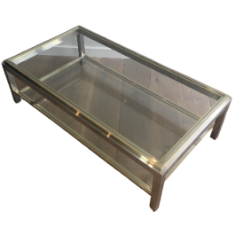 JEAN CHARLES. CHROME & BRASS COFFEE TABLE. SIGNED