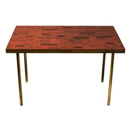 Mid Century Red Mosaic Side Table by Berthold Müller