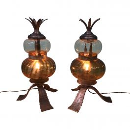 Wrought-Iron Detail Glass Lamps