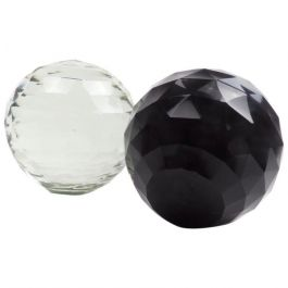 Pair of 19th Century Victorian Faceted Cut Glass Paperweights