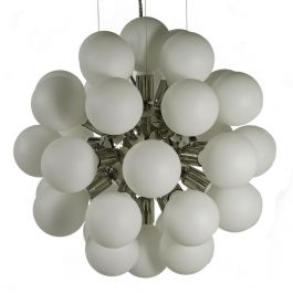 Modern Glass Chandelier in nickel plated brass with 34 white bulbs (width 62cm/24 inches)