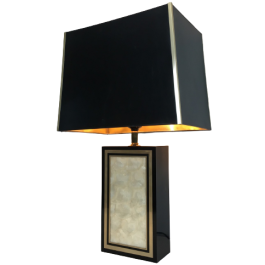 Tall Lacquered Wood Gild And Nacre Table Lamp