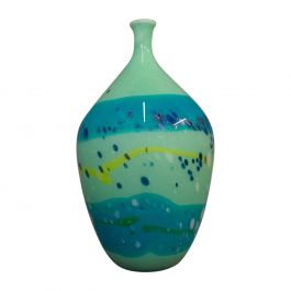 Decorative Stem Vase, English, Glass, Art Vase, Aquatic Overtones, 20th Century