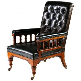 Arts & Crafts Library Chair Attributed to Charles Bevan with Green Leather
